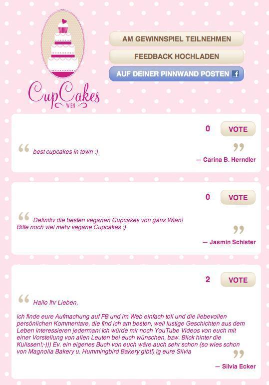 Facebook-Gewinnspiel für CupCakes Wien